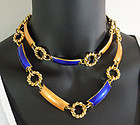"70s Gucci Italy Orange Blue Enamel 36"" Necklace / Belt"