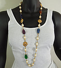 1970s Jewel Tones Poured Resin Pearls 36 Inch Sautoir