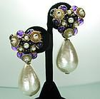 1980s Huge Faux Pearl Purple Beaded Drop Clip Earrings