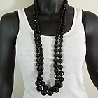 """Matched Pair Huge Black Glass Graduated Necklaces 38"""""""