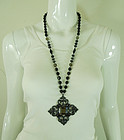1990 Statement Black Glass Japanned Quatrefoil Necklace