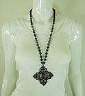 1990 Statement Black Glass Japanned Quatrefoil Necklace