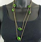 """Early Vintage Sautoir Big Green Bezel Glass Stones 55"""""""