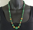 French 40s Egyptian Malachite Glass Chain Necklace Made in France