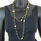 1981 Signed Chanel 56 Inch Green Crystal Pearls Sautoir