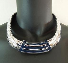 70s Monet Huge Gaspipe Snake Enamel Modernist Necklace