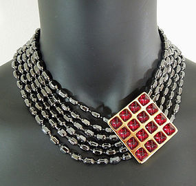 80s Yves St Laurent YSL Red Poured Resin Glass Necklace