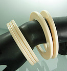 Set of 5 1980s Ivory Lucite Tribal Disk Form Bracelets