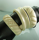 Set 3 1980s Faux Ivory Lucite Tribal Bangle Bracelets