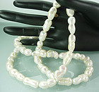 1980s Long Necklace Huge Double Freshwater Pearls