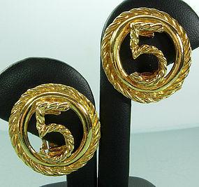 1980s Chanel Earrings No. 5 Logo Gold Rope Twist