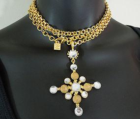 80s Karl Lagerfeld Quatrefoil Necklace Opaline Stones