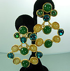 1980s Deanna Hamro Green Glass Faux Amber Earrings