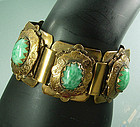1940 Heavy Green Peking Glass Renaissance Bracelet