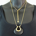 1980s Givenchy Modernist Black Resin Pendant Necklace
