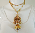 1980s Runway Cocoa Pearls Tiered Long Pendant Necklace