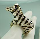 1970 Enameled Jeweled Zebra Cocktail Ring Ciner Style