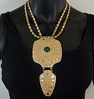 70s Napier Huge Nomadic Necklace Green Glass Stone