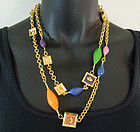 80s Karl Lagerfeld Enamel Necklace Fan Logo Jewel Tones