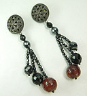 Pellini Italy Black Glass Faux Amber Huge Drop Earrings