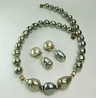 1970 French Gray Glass Pearl Strass Necklace Earrings