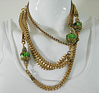 1950 French Necklace Green Glass Diamante Gilt Metal