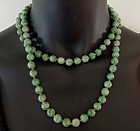 1920s 9mm Jade Bead 38 Inch Sautoir Necklace 119 Gr