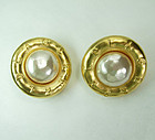 Huge 80s Karl Lagerfeld Logo Faux Mabe Pearl Earrings