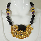1980s Tulla Booth Amethyst Onyx Carved Necklace