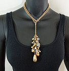 1980s Heavy Clustered Poured Glass Drops Necklace