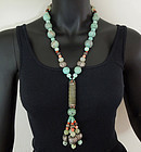 70s Chinese Turquoise Coral Hardstone Silver Necklace
