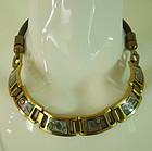 1960s Studio Modernist Bronze Enamel Leather Necklace