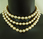 Luxe 1980s 49 Inch Baroque Glass Faux Pearls Necklace