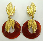 1980s Dauplaise Tribal Faux Amber Gold Leaves Earrings