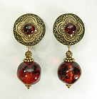 80s Tribal Style Faux Amber Lucite Ornate Drop Earrings