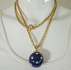 70s Modernist Rhinestone Studded Blue Pendant Necklace