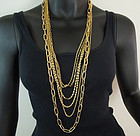 Runway 1970s 6 Strand Mixed Chunky Chains Long Necklace