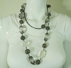 1990 Monette Paris Lucite Metal Mounted Long Necklace
