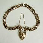 Antique Victorian 9KT Gold Bracelet Heart Shaped Clasp