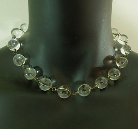 30s Deco Pools of Light Rock Crystal Necklace Undrilled