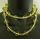 20s Deco Rock Crystal Citrine Glass Necklace 14K Clasp