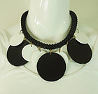 80s Runway French Necklace Black White Silk Cord