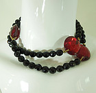 70s Dauplaise Glass Necklace Huge Red Faceted Beads