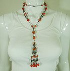 1910 Italian Silver Faux Amber Filigree Very Long Necklace Sautoir