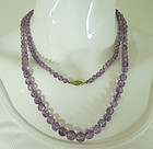 30s Art Deco Genuine Amethyst Bead Necklace 39 Inches Sterling