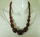 40s Art Deco Honey Amber Bakelite Necklace 82 Grams