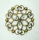 C 1940 Joseff of Hollywood Celtic Crystal Large Brooch