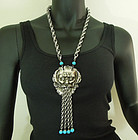 """1970 Huge Statement Necklace Turquoise Glass """"North Wind"""" Figural"""
