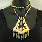 1970 Huge Ornate Etruscan Pendant Necklace Jade Poured Glass Beads