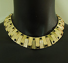 60s Modernist Brutalist Necklace Black Glass Square Cut Stones Runway